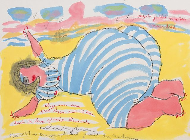 Heyboer A.  | Woman on the beach, chalk and watercolour on paper 78.5 x 106.8 cm, signed l.c.
