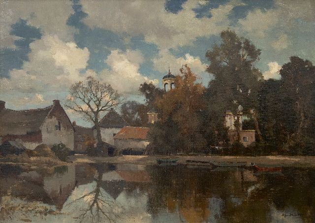 Driesten A.J. van | Village near the water, oil on canvas 50.5 x 70.0 cm, signed l.r.