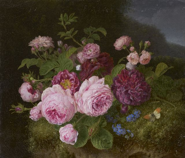 Henriëtte Knip | Roses on the forest soil, oil on canvas, 36.3 x 42.7 cm