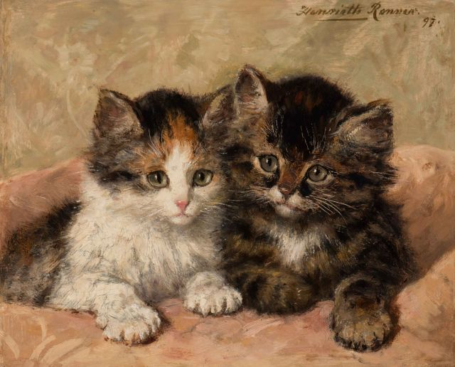 Henriette Ronner-Knip | Two kittens, oil on panel, 19.5 x 23.6 cm, signed u.r. and dated '97