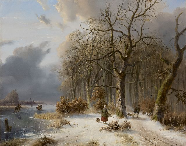 Nicolaas Johannes Roosenboom | Wood gatherers and skaters in a winterlandscape, oil on panel, 49.4 x 63.0 cm, signed l.r. and dated '41