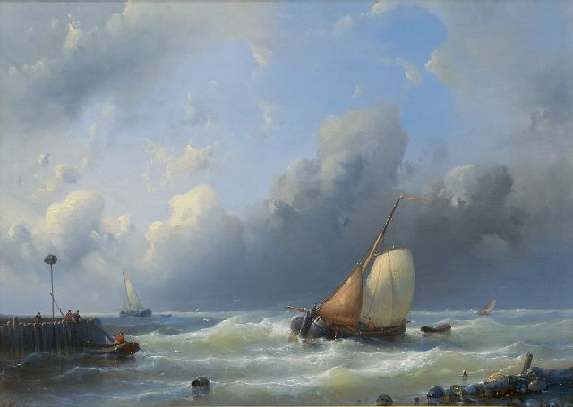 Abraham Hulk | A sailing cargo ship near the harbour entrance, oil on panel, 31.9 x 44.1 cm, signed l.l.