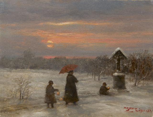 Rolf Dieter Meyer-Wiegand | Evening walk in the snow, oil on panel, 12.9 x 16.9 cm, signed l.r.
