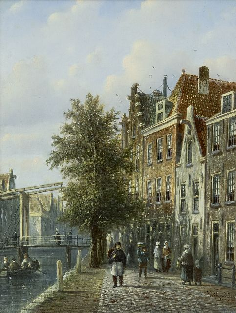 Johannes Franciscus Spohler | A sunlit canal with a drawbridge, oil on panel, 20.4 x 16.0 cm, signed l.r.