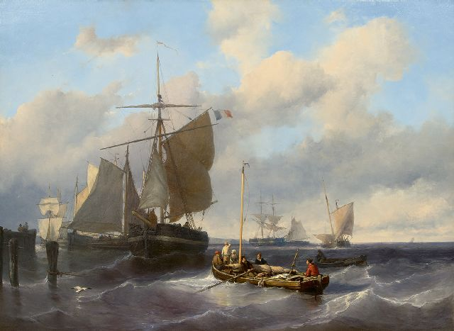 Louis Meijer | Hoisting the sails at pier, oil on panel, 79.8 x 110.5 cm, signed l.l.