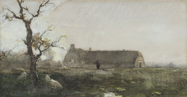 Jan Hendrik Weissenbruch | The Hanenburg farm, The Hague, chalk, watercolour and gouache on paper, 18.9 x 36.2 cm, signed l.r.