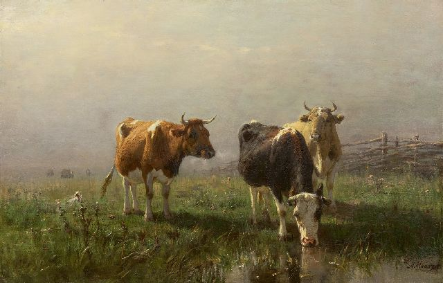 Mauve A.  | Cows in a meadow, oil on canvas 54.1 x 83.3 cm, signed l.r.