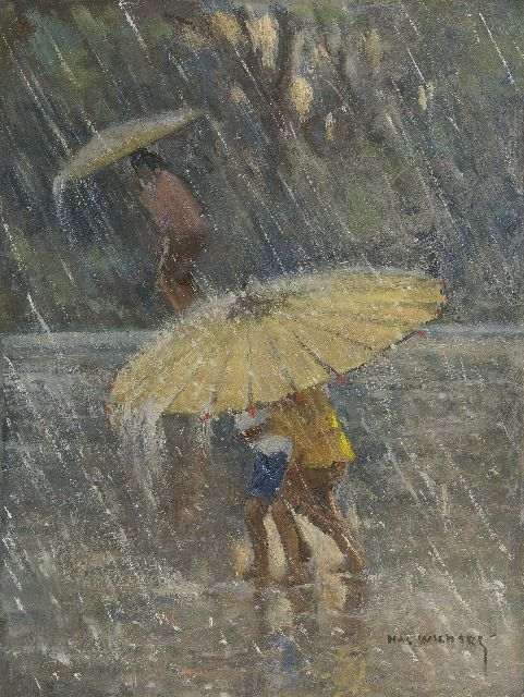 Hal Wichers | A tropical rain shower, oil on board, 40.0 x 30.1 cm, signed l.r.