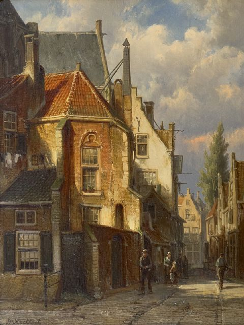 Koekkoek W.  | Street behind the church in a Dutch village, oil on panel 38.3 x 29.5 cm, signed l.l.