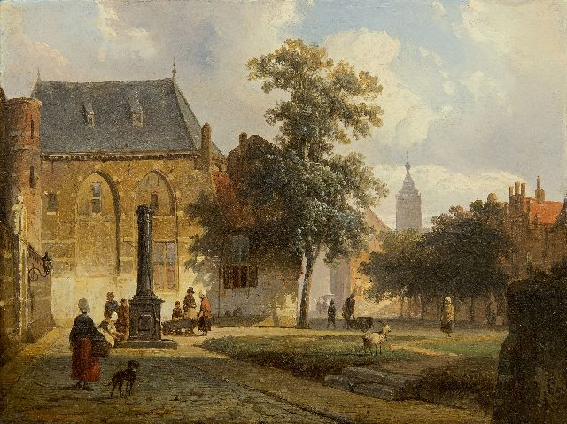 Springer C.  | A sunny Dutch town with figures near a water pump, oil on panel 16.3 x 21.7 cm, signed l.r. with monogram and dated '51