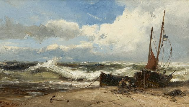 Hermanus Koekkoek jr. | Mending the nets in stormy weather, oil on panel, 18.8 x 33.0 cm, signed l.l.