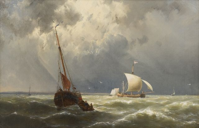 Hermanus Koekkoek jr. | Sailing vessels in choppy waters, oil on canvas, 33.1 x 51.0 cm, signed l.l.