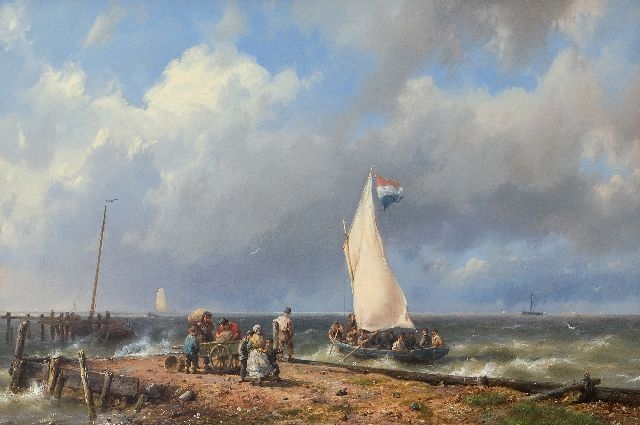 Koekkoek H.  | A Dutch sailing boat setting sail near a harbour entrance, oil on canvas 32.1 x 46.9 cm, signed l.r.