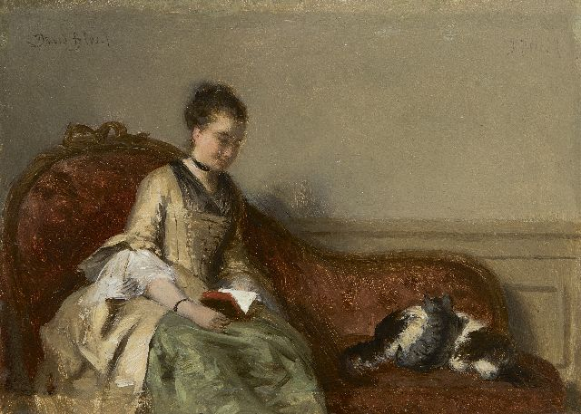 David Joseph Bles | Interior with a lady, reading, oil on panel, 13.3 x 18.4 cm, signed u.l. and u.r.