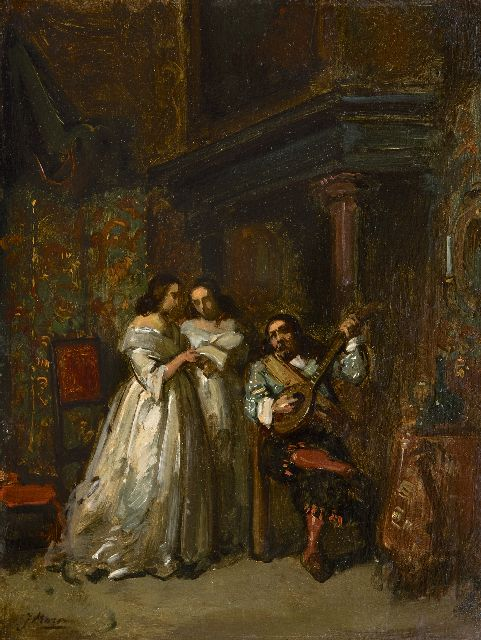 Jacob Maris | Romance, oil on paper laid down on panel, 30.3 x 23.1 cm, signed l.l. and painted ca. 1854-1855