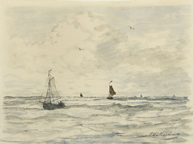 Hendrik Willem Mesdag | Fishing boats at sea, watercolour on paper, 23.7 x 31.0 cm, signed l.r.