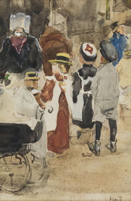 Willem de Zwart | Nanny with children and stroller, watercolour on paper, 19.1 x 12.8 cm, signed l.r. with initials