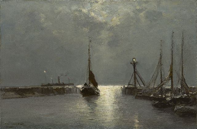 Louis Apol | The Enkhuizen harbour, oil on canvas, 40.4 x 60.4 cm, signed l.l.