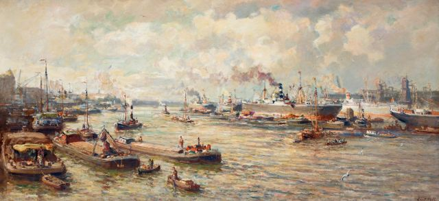 Evert Moll | The harbour of Rotterdam, oil on canvas, 94.6 x 200.4 cm, signed l.r.