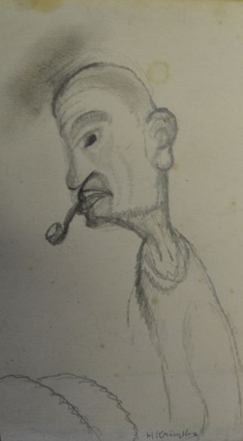Herman Kruyder | Man with pipe, pencil on paper, 17.3 x 9.6 cm, signed l.r.