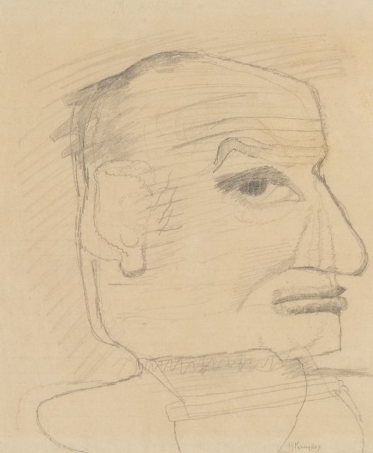 Herman Kruyder | Self-portrait (probably), pencil on paper, 25.0 x 21.0 cm, signed l.r.