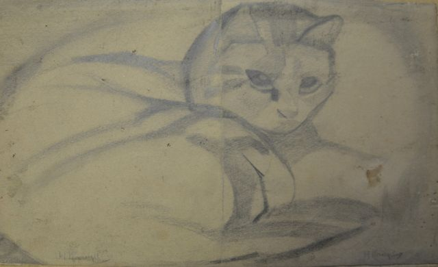 Herman Kruyder | Cat, pencil on paper, 14.9 x 25.0 cm, signed l.l. and l.r.