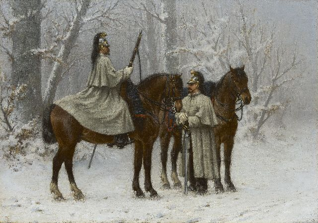 Wouter Verschuur jr. | Cavalrymen in a snowy forest, oil on canvas, 41.5 x 58.3 cm, signed c.l.