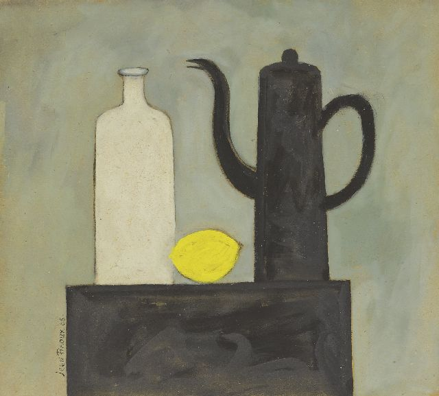 Firoux J.  | A still life with a teapot, bottle and lemon, crayon and gouache on board 31.0 x 34.4 cm, signed l.l. and dated '66