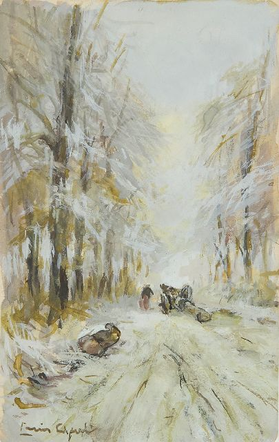 Louis Apol | Mallejan on a snowy forest path, gouache on paper, 16.9 x 10.5 cm, signed l.l.