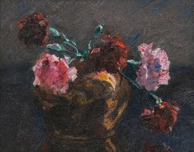 Tonge L.L. van der | Carnations, oil on canvas laid down on panel 23.6 x 28.9 cm
