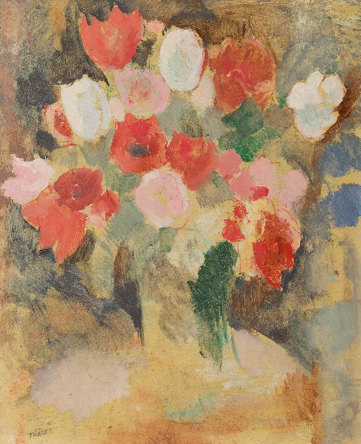 Kelder A.B.  | Tulips, oil on board 58.9 x 48.7 cm, signed l.l.