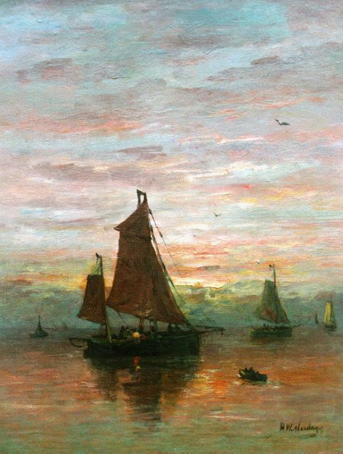Hendrik Willem Mesdag | Sailing vessels near the coast at dusk, oil on canvas, 51.7 x 40.1 cm, signed l.r.