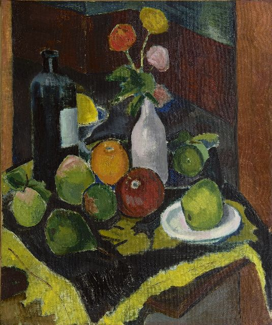 Lodewijk Schelfhout | A still life with fruit, flowers and a bottle, oil on canvas, 55.5 x 46.0 cm, signed l.r. and dated 1908