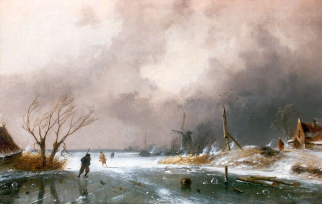 Charles Leickert | A winter landscape with skaters on a frozen waterway, oil on panel, 22.7 x 36.3 cm, signed l.r.