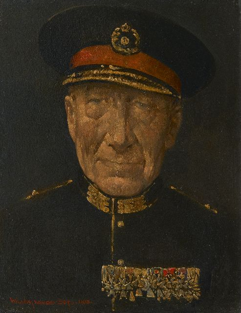Willem van den Berg | Portrait of a general Coenraad Lodewijk Walther Boer, oil on board, 20.8 x 16.0 cm, signed l.l. and dated 1963