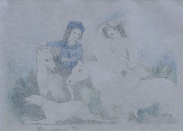 Laurencin M.  | Young riders (illustration of 'L'adroite princesse ou Les aventures de Finette', 1928), paper 28.0 x 36.0 cm, signed l.l. (in pencil) and l.r. signed in the stone