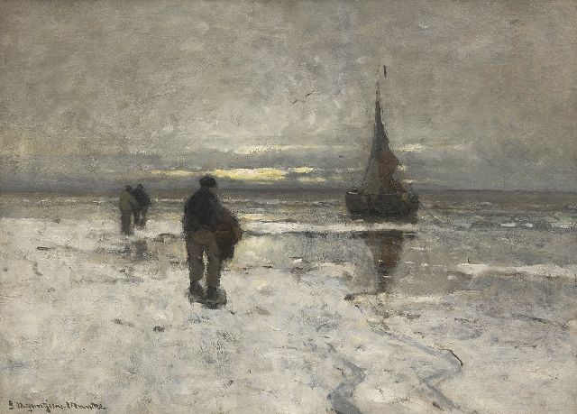 Munthe G.A.L.  | The beach in winter, oil on canvas 54.0 x 75.1 cm, signed l.l.