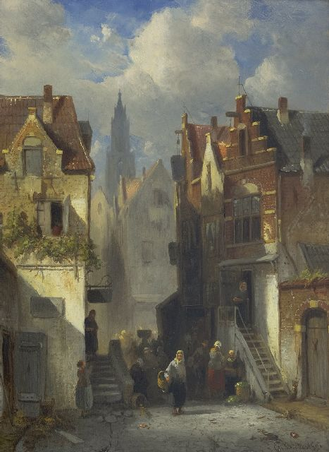 Charles Leickert | A crowded Dutch street, oil on panel, 36.1 x 26.3 cm, signed l.r. and dated '91