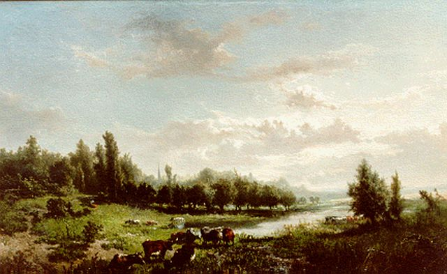 Jan de Haas | An extensive River Landscape, oil on panel, 46.5 x 71.0 cm, signed l.l. and dated '55
