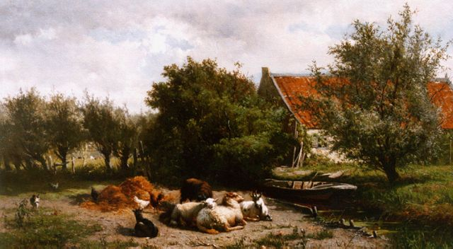 Gerard Bilders | Cattle in a landscape by a farm, oil on canvas, 45.2 x 70.0 cm, signed l.l.