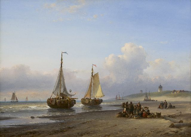 Lodewijk Johannes Kleijn | Fishing boats and fishermen on the beach of Scheveningen, oil on panel, 30.0 x 40.5 cm, signed l.r.