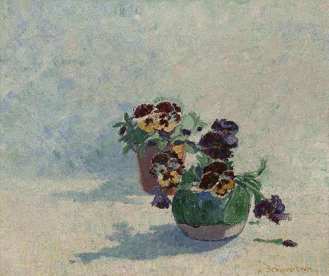 Wim Schuhmacher | Ginger jar with violets, oil on canvas, 34.5 x 40.3 cm, signed l.r. and dated 1914