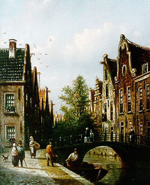 Johannes Franciscus Spohler | A canal view, Amsterdam, oil on panel, 20.5 x 16.0 cm, signed l.l.