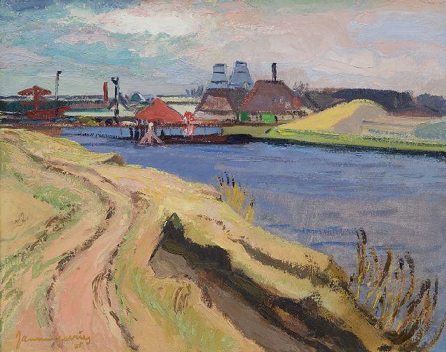 Jannes de Vries | Lime kilns along the Reitdiep, Groningen, oil on canvas, 40.0 x 50.0 cm, signed l.l. and on the reverse and dated '35