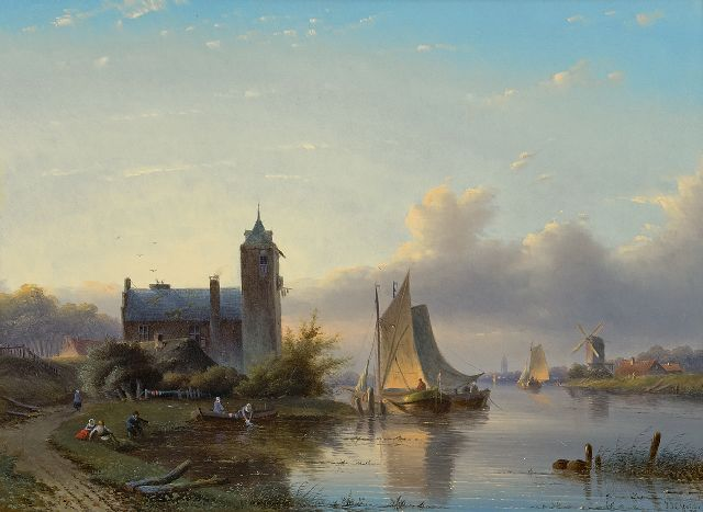 Jacob Jan Coenraad Spohler | A river landscape with sailing ships, oil on panel, 38.7 x 52.4 cm, signed l.r. and dated '58