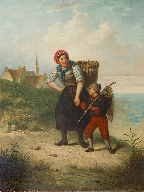 Jan Jacobus Matthijs Damschreuder | A fisherman's wife with her child in the dunes, oil on canvas, 93.6 x 71.1 cm, signed l.r. and dated 1867