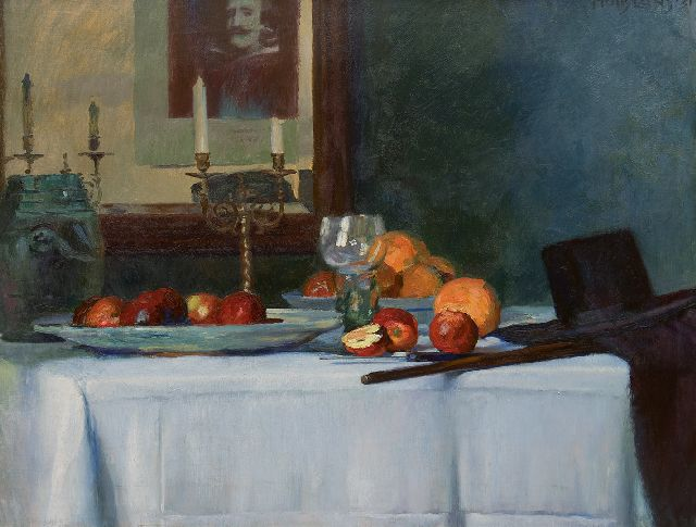 Huib Luns | A still life with a roemer, fruit and ornamental candlesticks, oil on canvas, 79.1 x 97.9 cm, signed u.r. and dated '31
