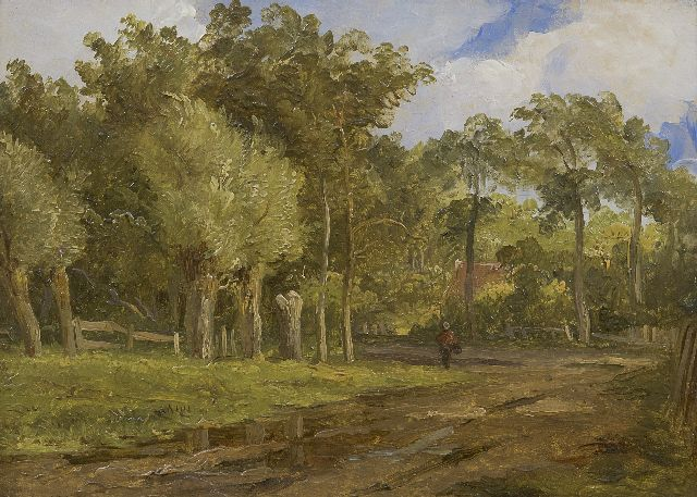 Arnoldus Johannes Eymer | Wooded landscape with a figure on a dirt road, oil on painter's board, 16.1 x 22.0 cm