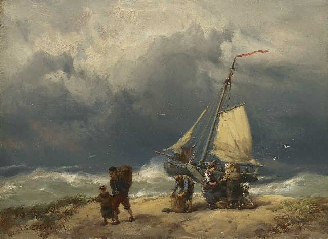 Jan H.B. Koekkoek | Fisherfolk on a windswept beach, oil on panel, 17.2 x 23.4 cm, signed l.l.