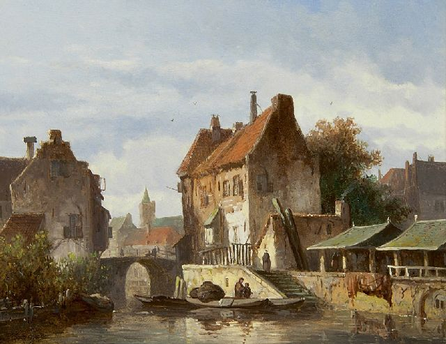 Adrianus Eversen | A town view with a canal, oil on panel, 15.0 x 19.1 cm, signed l.l.